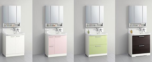 クリナップの洗面化粧台交換、水回り交換 ファンシオ