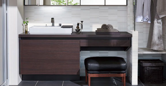 リクシルの洗面化粧台交換、水回り交換 ルミシス/ベッセルタイプ